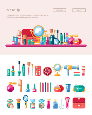 Set of flat design cosmetics, make up icons and elements with header banner illustration Ilustração