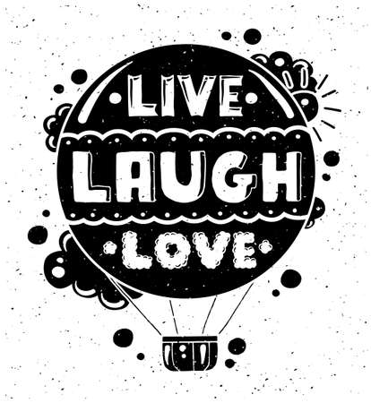 modern flat design hipster illustration with quote phrase Live Laugh Love Çizim