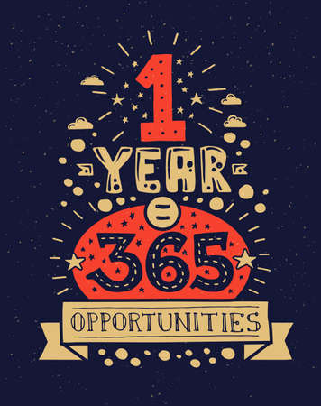 motivating: modern flat design hipster illustration with quote phrase One Year 365 Opportunities