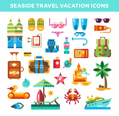 Set of flat design seaside travel vacation icons and infographics elements Illustration