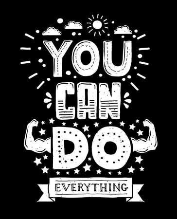tu puedes: moderno, ilustración, diseño inconformista plana con la frase Usted puede hacer todo