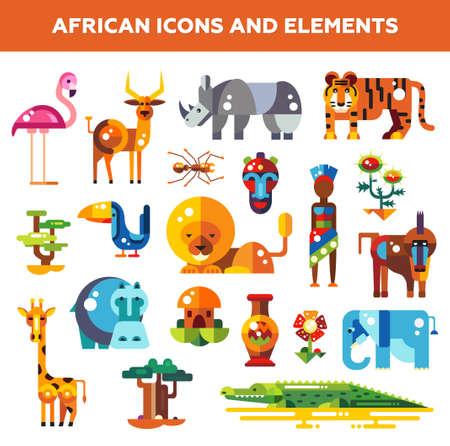 一連のフラット デザイン アフリカ アイコンと動物とインフォ グラフィックの要素