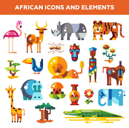 animales de la selva: Conjunto de diseño africano iconos planos e infografías elementos con animales