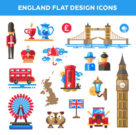 english flag: Set of flat design England travel icons  Illustration