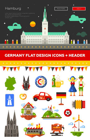germanic people: Set of flat design Germany travel icons