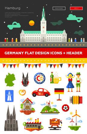 hamburg: Set of flat design Germany travel icons