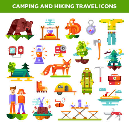 hiking: Modern flat design illustration of camping and hiking info travel graphic vector elements, icons Illustration