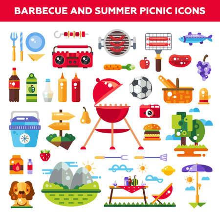 Reeks vector platte ontwerp barbecue en de zomer picknick pictogrammen en infographics elementen Stock Illustratie