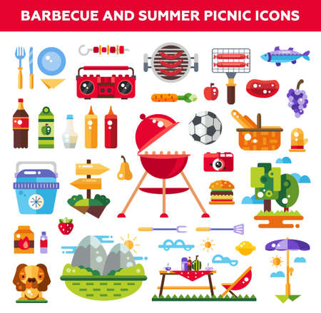dog summer: Set of vector flat design barbecue and summer picnic icons and infographics elements