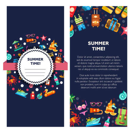 Flyer of template vector modern flat design seaside travel vacation icons and infographics elements