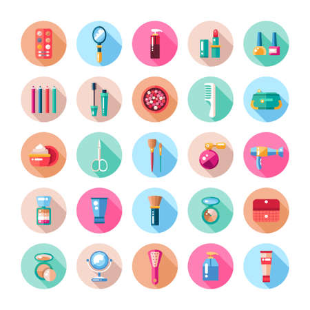 Set of flat design cosmetics, make up icons and elements 向量圖像