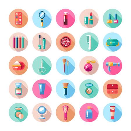 Set of flat design cosmetics, make up icons and elements Illustration