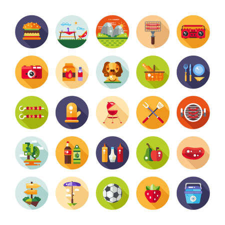 Set of flat design barbecue and summer picnic icons and infographics elements