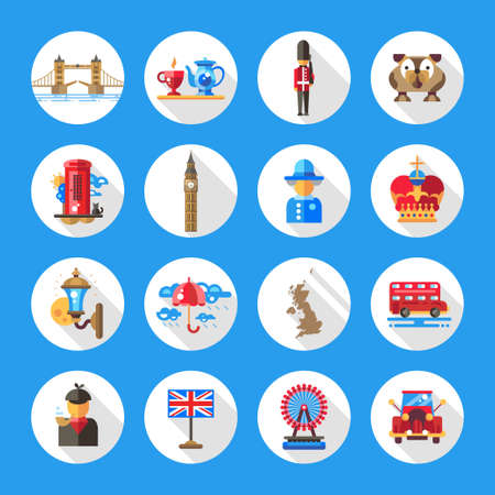 london england: Set of flat design England travel icons and infographics elements with landmarks and famous London and United Kingdom symbols Illustration