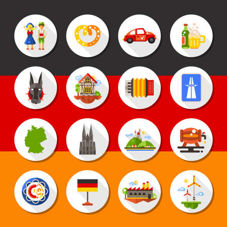 germanic: Set of r flat design Germany travel icons and infographics elements with landmarks and famous national symbols