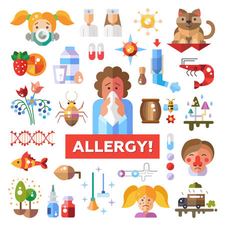 rhinitis: Set of flat design allergy and allergen icons and infographics elements