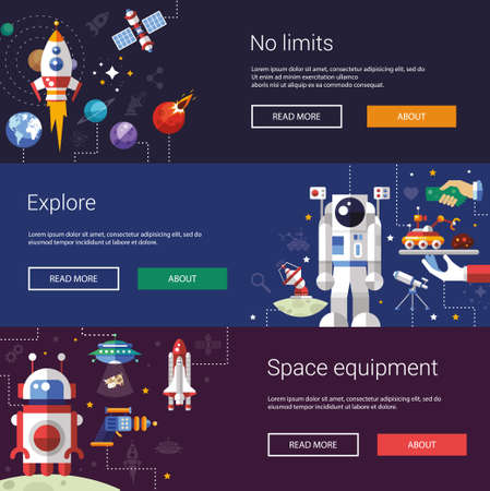 astronauts: Set of  flat design flyers and headers of space icons and infographics elements