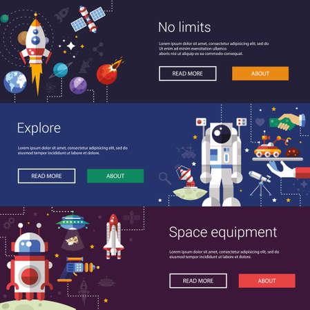 Zestaw płaskich ulotek projektowych i nagłówkach ikon i elementów kosmicznych infografiki Ilustracje wektorowe