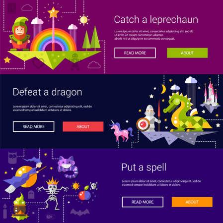 fairy story: Set di banner, intestazioni, le illustrazioni con le fiabe di design piatto magia vettore di icone ed elementi