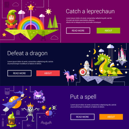 Set of banners, headers, illustrations  with fairy tales flat design magic vector icons and elements