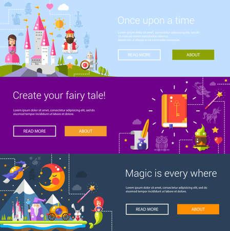 fairy story: Set di banner, intestazioni, le illustrazioni con le fiabe di design piatto icone ed elementi magici Vettoriali