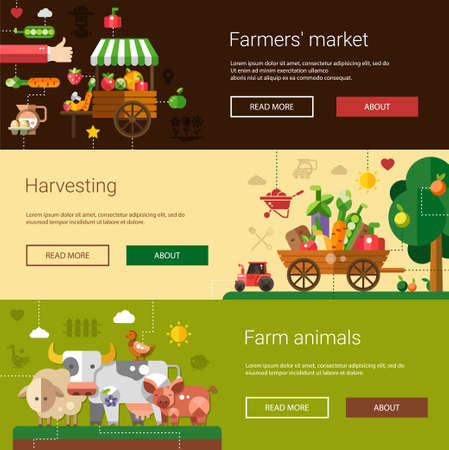 agricultor: Conjunto de plantillas espectaculares de la moderna granja de diseño plano y los iconos de la agricultura y elementos