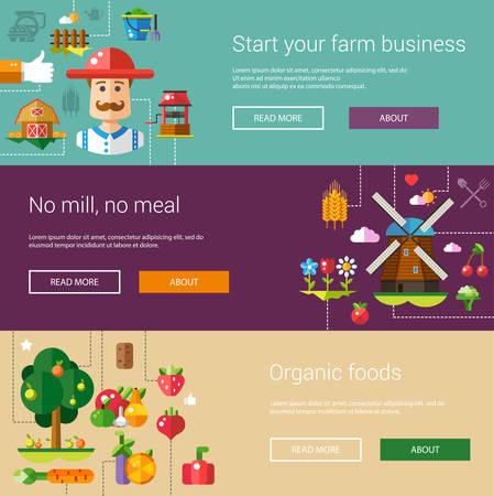 agriculture: Conjunto de plantillas espectaculares de la moderna granja de dise�o plano y los iconos de la agricultura y elementos