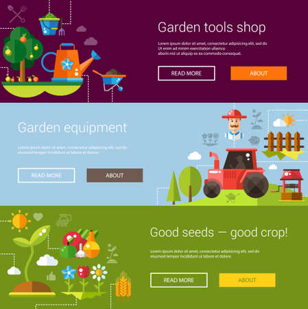 agriculture landscape: Set of flyer templates of modern flat design farm and agriculture icons and elements