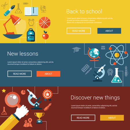 college: Set of vector flat design flyers, headers, banners of school and college icons, infographics elements. Back to school