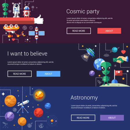 alien symbol: Set of vector flat design flyers and headers of space icons and infographics elements