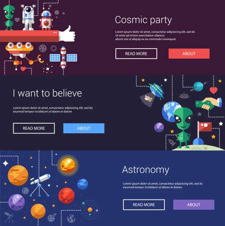 universum: Set von Vektor-flaches Design Flyer und Überschriften von Raum-Symbole und Infografiken Elemente