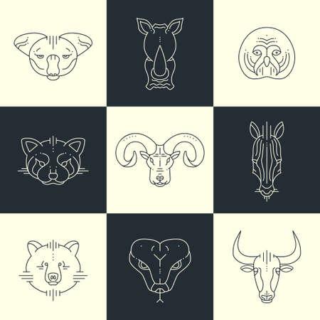 head of animal: Set of  animals linear flat icons, labels, illustrations for your design. Koala, rhino, owl, red panda, big horn, zebra, bear, snake, bull Illustration