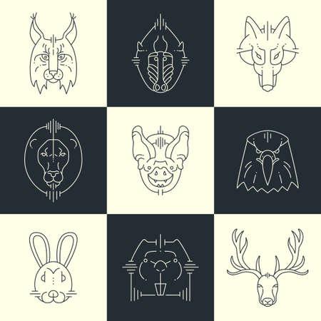 lion dessin: Set d'animaux linéaire icônes plates, des étiquettes, des illustrations pour votre conception. Lynx, le singe, le loup, le lion, l'aigle chauve-souris, le lapin, le cerf,