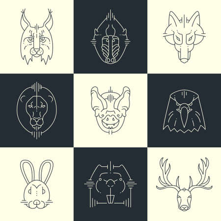 wolves: Set of  animals linear flat icons, labels, illustrations for your design. Lynx, monkey, wolf, lion, bat, eagle, rabbit,  deer