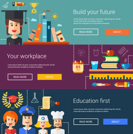 school website: Set of flat design flyers, headers, banners of school and college icons, infographics elements. Back to school
