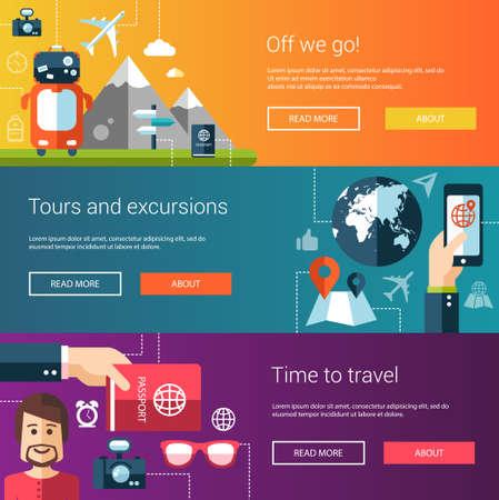 Set van platte ontwerp flyers en headers van reizen, toerisme, vrije tijd iconen en infographics elementen