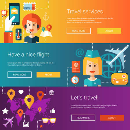 at leisure: Set of flat design flyers and headers of travel, tourism, leisure icons and infographics elements