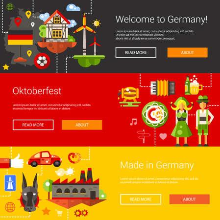 comida alemana: Conjunto de volantes planos de diseño y encabezados con los viajes de Alemania, los iconos de turismo y infografías elementos