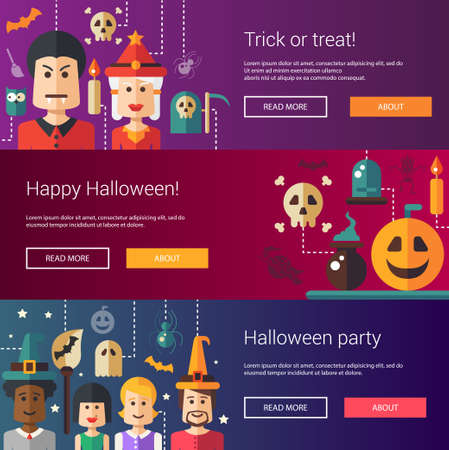modern illustrations: Set of  Halloween flat design modern illustrations,  headers with icons and characters. Flyers for party Illustration