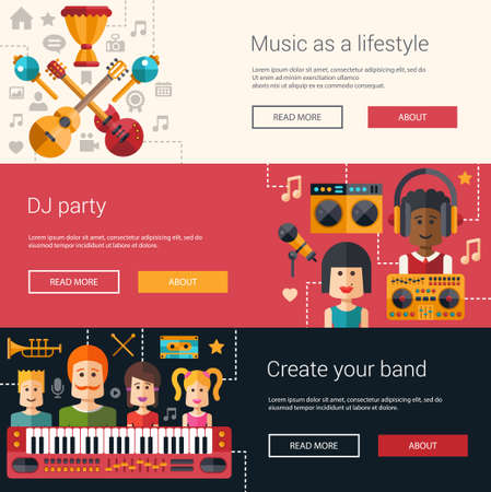 music instruments: Set of music flat modern illustrations, banners, headers with icons and characters. Flyers for your design Illustration