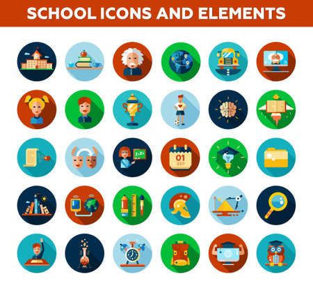 학교의 설정, 대학 디자인 아이콘과 infographics입니다 요소 평면. 학교로 돌아가다