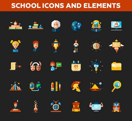 calculator: Set of  school, college flat design icons and infographics elements. Back to school