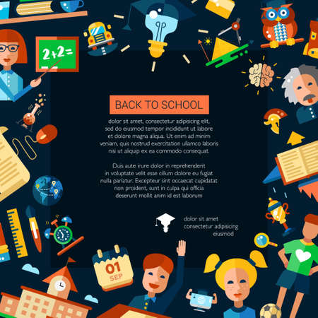 school website: Flyer template of  school, college flat design icons and infographics elements. Back to school. Poscard Illustration