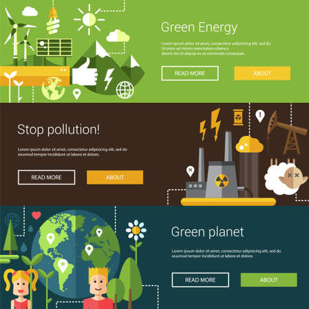 energia solar: Conjunto de ilustraciones modernas planas ecológicos, encabezados con iconos y caracteres. Flyers para su diseño