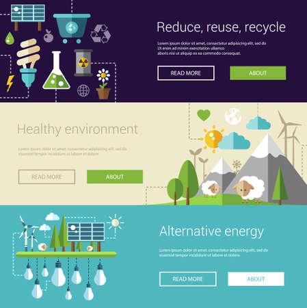 reciclar: Conjunto de ilustraciones modernas planas ecol�gicos, encabezados con iconos y caracteres. Flyers para su dise�o