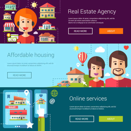 mortgage: Set of real estate flat modern illustrations,  headers with icons, buildings and characters. Flyers for your design