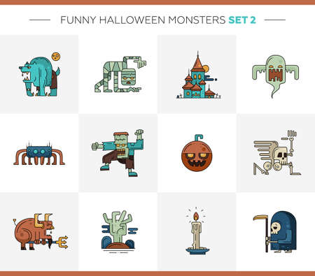 horror: Set of  Halloween line flat design modern icons and characters. Funny scary personages Illustration