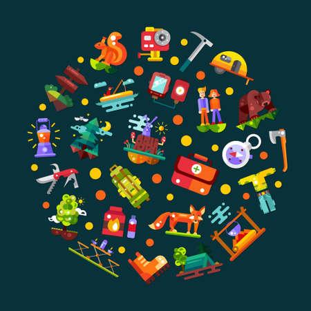 icono deportes: Ilustración moderna plana del diseño del círculo de camping y senderismo elementos gráficos información de viajes, iconos Vectores