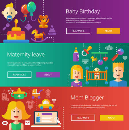 motherhood: Set of baby, motherhood flat modern illustrations, headers with icons and characters. Flyers for your design