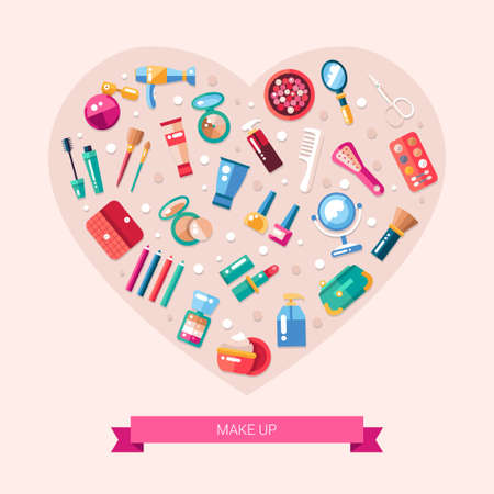 flat brush: Heart illustration of  flat design cosmetics, make up icons and elements Illustration